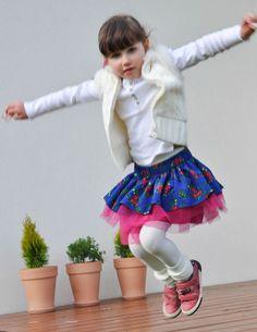 Twirl girls skirt NOVELTY folk design sapphire by NinuMiluBagDolls