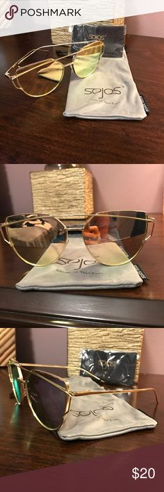 Sojos Sunglasses Gold metal rim, w/ rose gold lenses. They change color when you look from different angles! Very good quality, heavy metal, but not heavy on your face. Super cute style. Comes with sunglass holder, and lense cleaner. Sojos Vision Accessories Sunglasses