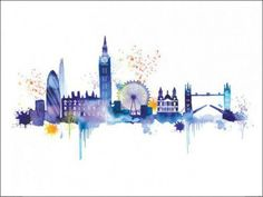 London Skyline Art Print by Summer Thornton at King Painting Prints, Wall Art Prints, Poster Prints, Canvas Prints, Paintings, Skyline Painting, Skyline Art, Skyline Von London, Cityscape Wallpaper