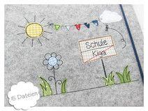 Stickdatei 10x10 Straßenschild Schule Kiga Doodle