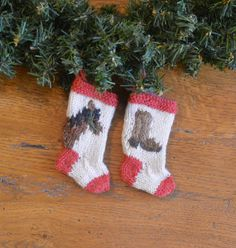 Horse & Cowboy Boot Set on Christmas Stocking Ornemants - Stocking Ornament - use as a Father's Day gift topper now, and then he'll have it for the Christmas Tree for years to come (and think of you!)