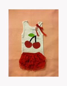 Baby Girl Clothes Outfit Cherry Tank Top and Red by itsyglam, $27.00