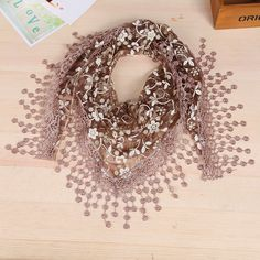 Woman Fashion Shiny Trendy Floral Tassels Scarf  This scarf is perfect for autumn weather and is a great fall companion for your wardrobe. Get it at >>https://goo.gl/pBABoE