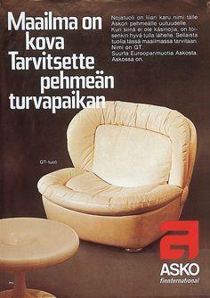 Asko finnternational, maailma on kova, tarvitsette pehmeän turvapaikan GT-tuoli - Askon vanha mainos