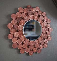 Cool DIYs Made With Pennies and Coins - Penny Starburst Mirror - Penny Walls, Floors, DIY Penny Table. Art With Pennies, Walls and Furniture Make With Money and Coins. Cool, Creative Tutorials, Home Decor and DIY Projects Made With Old Pennies - Cool DIY Projects and Crafts for Teens http://diyprojectsforteens.com/diy-ideas-pennies