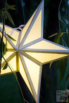 Paper Star Lantern with Window Cutouts - SVG Cutting Files