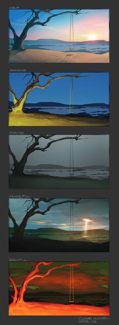 Schoolism - Nathan Fowkes week 4 by shoomlah. I really like this idea of drawing one place but at different times of the day or different weather or even like it's depicted as different emotions. Really cool.