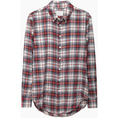Band of Outsiders Plaid Boyfriend Shirt (€195) ❤ liked on Polyvore featuring tops, shirts, flannel, plaid, red flannel shirt, red shirt, boyfriend flannel shirt, red plaid shirt and long sleeve tops