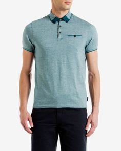 Block colour Oxford polo shirt - Turquoise | Tops & T-shirts | Ted Baker