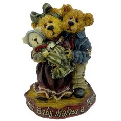 Amazon.com - Boyds Bears Resin Momma & Poppa Mcnewbear Baby Bearstone Family - Resin 4.00 IN - Collectible Figurines+