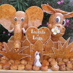 piece montee mariage original gateau choux nougatine personnalisé animaux elephant vache