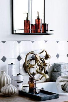 Mirror and shelf 'Talja' - metal - black ancient - Broste Copenhagen Quirky Bathroom, Bathroom Styling, Bathroom Interior, Broste Copenhagen, Black And White Love, Mirror With Shelf, Bathroom Plants, Bathroom Inspiration, Bathroom Ideas