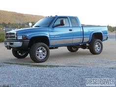 blue color lifted dodge ram truck