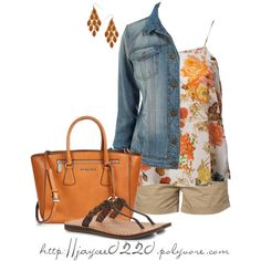 """""""Orange, Denim and Floral"""", created by jaycee0220 on Polyvore"""