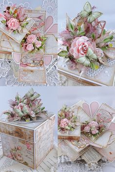 Exploding box z wkładkami Exploding Box Card, Shabby Chic Crafts, Rice Paper, Flower Cards, Cardmaking, Decoupage, Decorative Boxes, Paper Crafts, Paper Boxes
