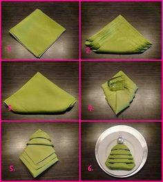 Master the Christmas tree napkin fold and you won't need to buy any special holiday napkins or napkin rings