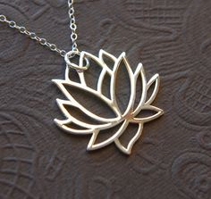 Large silver lotus flower pendant and sterling silver necklace, lotus necklace, large pendant, blooming lotus on Etsy, $32.00