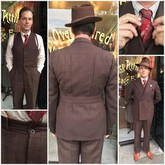 What #OverAttired wore today for Jazz at @scmoderne with @a.modernist's trio: Chocolate brown #1940s beaver felt fedora by Beaver Hats, red/dark grey/cream unlined #1930s silk tie by Wembley, caramel 40s captoe Stacey Adams, and a 3-piece dated-1938 brown #peaklapel #beltedbacksuit with a black and red plaid. I especially love the two-button-high waistband (half way to the superb 3-button-high waistband!) and pleats running down from the yoke to the belt! (Pro Tip: when I have pleats above…