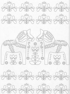 Scandinavian Coloring Book Pg 42 Horse Coloring Pages, Free Adult Coloring Pages, Doodle Coloring, Coloring Pages To Print, Colouring Pages, Coloring Books, Scandinavian Embroidery, Scandinavian Pattern, Scandinavian Folk Art