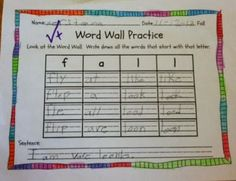 First Grade Fabulous Fish - Word Wall Practice - Fall