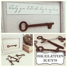 Doreen Cagno's discussion on Hometalk. Only You Hold the Key to My Heart - Skeleton Key Art - Simple word art with a rusty skeleton key! Skeleton Key Crafts, Old Key Crafts, Diy Home Crafts, Skeleton Keys, Crafts Cheap, Antique Keys, Vintage Keys, Vintage Crafts, Key Projects