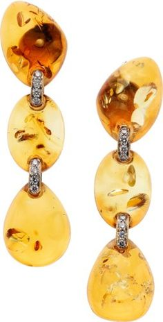 Amber, Diamond, Gold Earrings, Eli Frei.                              …