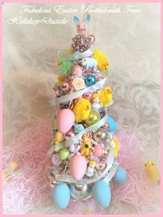 Pretty EASTER Chick PINK Bottlebrush Tree Antique Bunny Vtg Glass Xmas Ornaments FOR SALE • CAD $165.56 • See Photos! Money Back Guarantee. This is a very beautiful Bottle brush tree all decorated for Easter.It is a pretty Pastel Pink Tree with frosty White Mica Flocking!It is decorated with vintage Mercury Glass Feather 122374302201