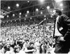 Grover Center student rally, May 1970. Student rally following the Kent State shootings, with speaker Gordon Parks, chronicler of the African-American experience. :: Ohio University Archives