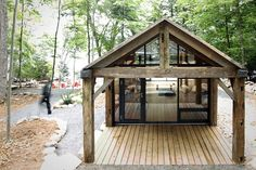 BLDG workshop + 608 design build prefab bunkie retreat in canada, fusing furniture and architecture.