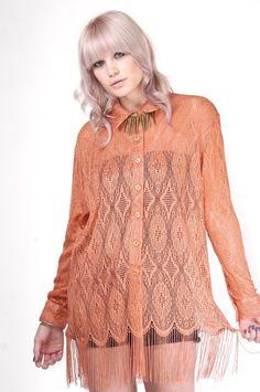 Save $25! Vintage Coral Crochet Fringe Blouse, $60.00 (http://www.skinnybitchapparel.com/vintage-coral-crochet-fringe-blouse/)