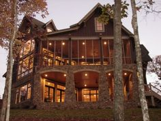 Rear of home located on Lake Martin in Alabama, designed by Shawn Fisher Design.