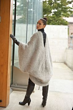 Ravelry: Mohair Poncho pattern by Linda Marveng Model: Cristiane Sa, hair & make up stylist: Line Sekkingstad, photographer: Kim Müller