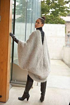 Ravelry: Mohair Poncho pattern by Linda Marveng Model: Cristiane Sa, hair & make up stylist: Line Sekkingstad, photographer: Kim Müller