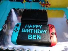 My little brother's Switch birthday cake. : NintendoSwitch - Nintendo Switch Games - Trending Nintendo Switch Games - My little brother's Switch birthday cake. Nintendo Party, Nintendo Cake, Nintendo Ds, 9th Birthday Cake, Birthday Fun, Birthday Recipes, Birthday Ideas, Video Game Cakes, Cakes For Boys