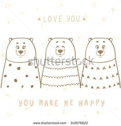 Stylish card with bears and place for text. Funny and cute three cartoon bears. Poster in cartoon style