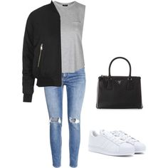 GREY by eliselindgren on Polyvore featuring polyvore, fashion, style, Topshop, H&M, adidas, Prada, women's clothing, women's fashion, women, female, woman, misses and juniors