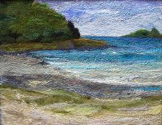Sea Shore - Needlefelt Art XLarge - Mat included - Mounted and Frame Ready Felted Wool Crafts, Felt Crafts, Landscape Quilts, Landscape Art, Wet Felting, Needle Felting, Felt Wall Hanging, Felt Pictures, Fabric Pictures