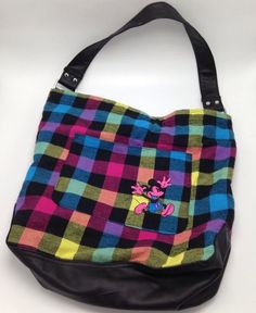 Mickey Mouse Checkered Plaid Hobo Purse Tote Shoulder Bag Pink Walt Disney Parks #Disney