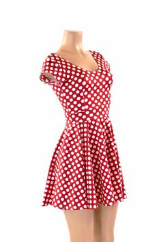 Red & White Pinup Polka Dot Scoop Neck Cap Sleeve Fit and