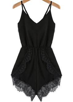 Black Spaghetti Strap Lace Chiffon Jumpsuit -  Hmm, I see a remake of an old dress happening soon =D