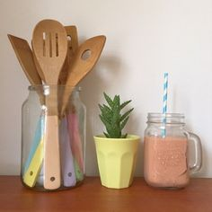Pastel paint dipped kitchen utensils. sweet kitchen. pastel kitchen. pastel colours. pastel decor. retro kitchen, vintage kitchen, baking, cooking, hand painted,