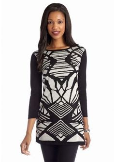 New Directions  Printed Sweater Tunic
