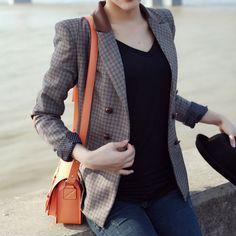 Vintage Checks Double Breast Short Tunic Blazer Jacket Coat [grxjy561195]
