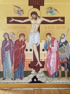 Crucifixion by Rosella Crespi Byzantine Icons, Byzantine Art, Catholic Art, Religious Art, Spirited Art, Holy Cross, Orthodox Icons, Art And Architecture, Madonna