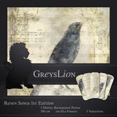 5 DIGITAL BACKGROUND PAPERS Raven Songs 12x12 blog by greyslion, $0.99 Special Interest, Best Artist, Paper Background, Raven, Journals, Songs, Digital, Blog, Etsy