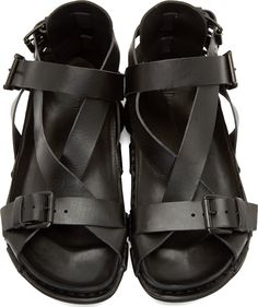 AD Ann Demeulemeester Black Buckle Strap Sandals