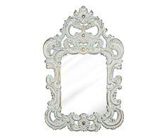 Espejo de pared Salma - blanco decapado