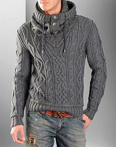 MADE TO ORDER Sweater aran men hand knitted sweater snood cardigan pullover men…