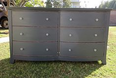 SHABBY CHIC/FRENCH PROVINCIAL DRESSER 6 DRAWERS CHARCOAL/GRAY