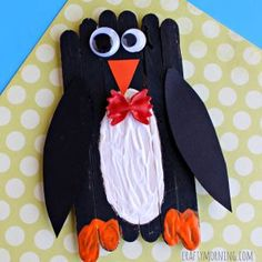 Popsicle Stick Bow Tie Penguin Craft for Kids